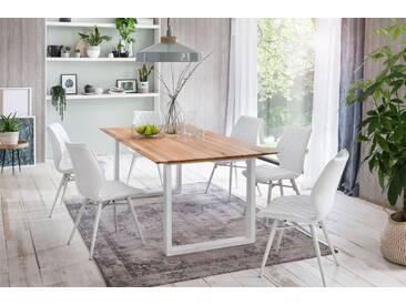 Premium collection by Home affaire Esstisch »Montreal«, Eichenholzlamellen geölt mit eleganter Schweizer Kante, Gestell weiß, beige