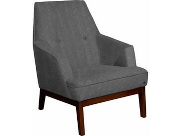 TOM TAILOR Sessel »COZY« im Retrolook, mit Kedernaht und Knöpfung, Füße nussbaumfarben, grau, Vintage Webstoff TUS