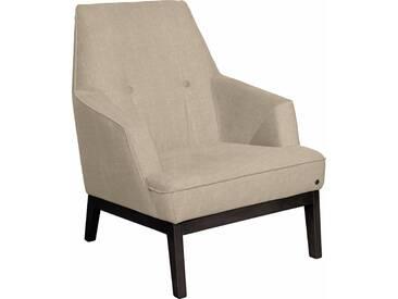TOM TAILOR Sessel »COZY« im Retrolook, mit Kedernaht und Knöpfung, Füße wengefarben, beige, Vintage Webstoff TUS