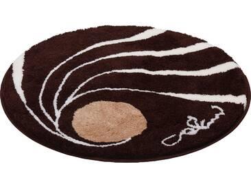 Badematte »Colani 18« Colani, Höhe 24 mm, rutschhemmend beschichtet, fußbodenheizungsgeeignet, braun, rund Ø 80 cm