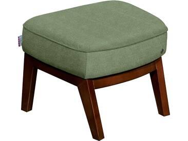 TOM TAILOR Hocker »COZY« im Retrolook, mit Kedernaht, Füße nussbaumfarben, grün, Vintage Webstoff TUS