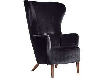 Max Winzer® Hochlehner Sessel »Liana« im Retrostil, mit Knopfheftung, grau, Samtvelours 20442