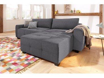 Home affaire Ecksofa »Bella«, wahlweise mit Bettfunktion und Bettkasten, Steppung im Sitzbereich, grau, Struktur fein