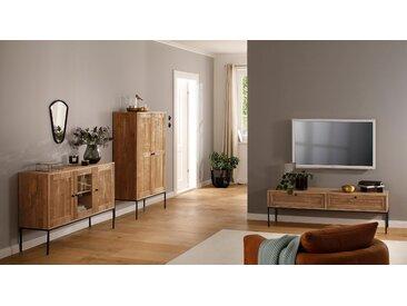 Home affaire Sideboard »Freya«, mit 2 Holztüren, 1 Glastür, Metallgriffen, aus Massivholz, Breite 130 cm, beige