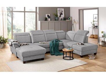 Premium collection by Home affaire Wohnlandschaft »Solvei«, incl. Sitztiefenverstellung und Federkern, wahlweise Kopfteilverstellung und Bettfunktion, Kontrastnaht, silber, Struktur