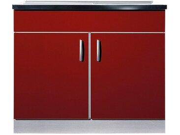 wiho Küchen Spülenschrank »Amrum« 100 cm breit mit Auflagespüle, rot