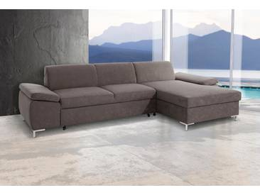 DOMO collection Ecksofa, wahlweise mit Bettfunktion, grau, Microfaser PRIMABELLE®