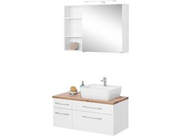 HELD MÖBEL Waschtisch-Set »Davos«, (Set, 3-tlg), mit Regal und Spiegelschrank, weiß