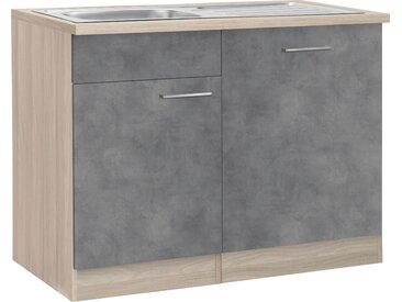 wiho Küchen Spülenschrank »Zell« Breite 110 cm, inkl. Tür/Sockel für Geschirrspüler, grau