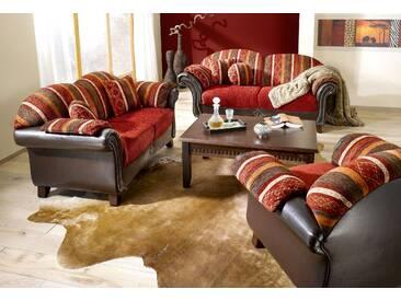 Home affaire Polstergarnitur (2-tlg.) »Colombo«, 2-Sitzer und 3-Sitzer, mit Federkern, rot, Kunstleder / Struktur