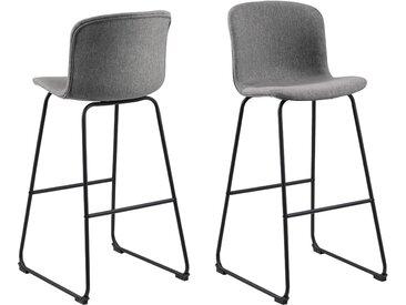 andas Barhocker »Sigwald« (Set, 2 St), mit einem schönen Kunstleder Bezug, schwarze Kufenmetallbeine, Sitzhöhe 75 cm, grau, Stoff