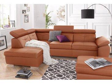 exxpo - sofa fashion Ecksofa, wahlweise mit Bettfunktion, braun, NaturLEDER®, 274 cm x 81 cm x 206 cm
