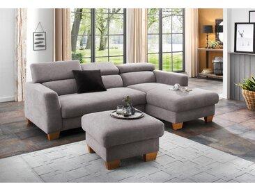 Home affaire Ecksofa »Steve«, mit besonders hochwertiger Polsterung für bis zu 140 kg pro Sitzfläche, grau, Struktur fein