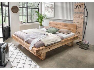 Balkenbett Doppelbett Massivholz Bold, 180x200 cm, Wildeiche geölt