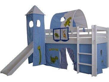 Halbhohes Kinder Abenteuerbett Space Massivholz mit Leiter und Rutsche, Komplettset, hellblau/weiß