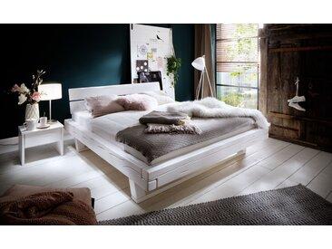 Balkenbett Doppelbett Massivholz Bold weiß lackiert, 200x200 cm, Fichte weiß lackiert