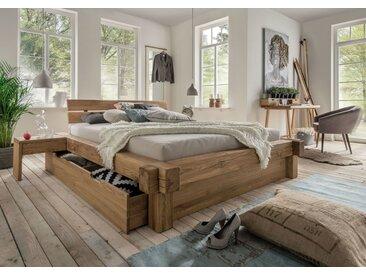 La Natura Balkenbett mit Schubkasten Bettkasten, Balkenbett 180x200 cm, mit 1 Schubkasten, Fußblende, Seitenblende