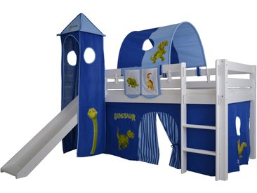 Halbhohes Kinder Abenteuerbett Space Massivholz mit Leiter und Rutsche, Komplettset, hellblau/dunkelblau
