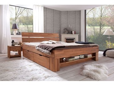 Elfo Futonbett Sofie mit Bettkästen und Fußteilregal, 180x200 cm, Kernbuche massiv