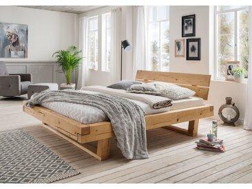 Balkenbett Doppelbett Massivholz Bold, 140x200 cm, Fichte geölt
