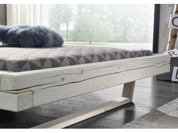 Balkenbett Massivholz weiß lasiert, 180 x 200 cm, Aussenmaß 202x85x222cm