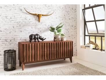 WOHNLING Sideboard BELUR aus Massivholz Sheesham   Kommode 160 cm mit 2 Schubladen 2 Türen   Design Anrichte Landhausstil natur