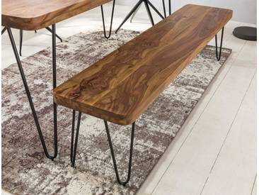 WOHNLING Esszimmer Sitzbank BAGLI Massiv-Holz Sheesham 120 x 45 x 40 cm Holz-Bank Natur-Produkt Küchenbank im Landhaus-Stil