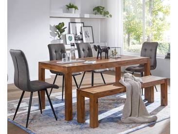 WOHNLING Esszimmer Sitzbank MUMBAI Massiv-Holz Sheesham 180 x 45 x 35 cm Holz-Bank Natur-Produkt Küchenbank im Landhaus-Stil