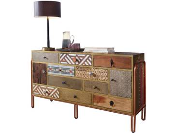 WOHNLING Sideboard FITTED 137x81x45 cm Metall Anrichte Industrial Bunt