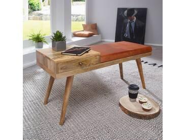 WOHNLING Sitzbank SALIM Ziegenleder / Massivholz Bank 100x52x38 cm im Retro Stil