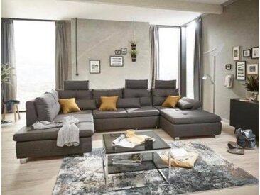 Wohnlandschaft Madeira Braun/Grau Luxus-Webstoff 235 x 350 x 184 cm