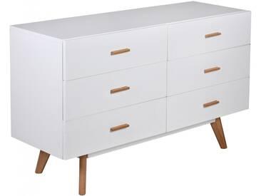 WOHNLING Sideboard SCANIO MDF Holz Weiß mit 6 Schubladen Kommode 120 x 70 cm Dielenmöbel Design Anrichte modern Highboard