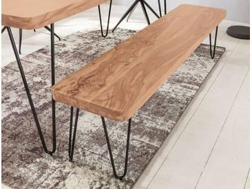 WOHNLING Esszimmer Sitzbank BAGLI Massiv-Holz Akazie 120 x 45 x 40 cm Holz-Bank Natur-Produkt Küchenbank im Landhaus-Stil