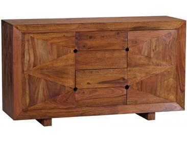 WOHNLING Sideboard MUMBAI Massivholz Sheesham Kommode 145 cm 4 Schubladen 2 Türen Anrichte Highboard Landhaus-Stil Echt-Holz
