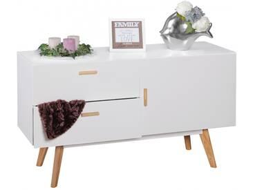 WOHNLING Sideboard SCANIO MDF Holz Weiß mit 2 Schubladen Kommode 120 x 70 cm Dielenmöbel Design Anrichte modern Highboard