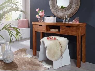 WOHNLING Konsolentisch MUMBAI Massivholz Sheesham Kommode 115 cm Design Konsole mit Schubladen und Ablage Anrichte Landhaus