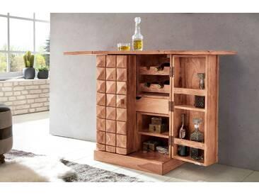 WOHNLING Hausbar SIRA Massivholz Akazie Weinbar ausklappbar Vitrine Landhausstil Barschrank Aufbewahrung Flaschen Gläser