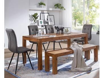 WOHNLING Esszimmer Sitzbank MUMBAI Massiv-Holz Sheesham 160 x 45 x 35 cm Holz-Bank Natur-Produkt Küchenbank im Landhaus-Stil
