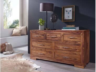 WOHNLING Sideboard MUMBAI Massivholz Sheesham mit 7 Schubladen Kommode 140 x 75 cm im Landhausstil Design Anrichte Naturholz