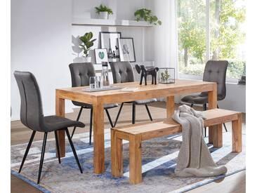 WOHNLING Esszimmer Sitzbank MUMBAI Massiv-Holz Akazie 140 x 45 x 35 cm Holz-Bank Natur-Produkt Küchenbank im Landhaus-Stil