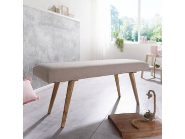 WOHNLING Sitzbank SALIM Stoff / Massivholz Bank Beige 117x51x38 cm im Retro Stil