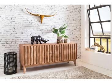 WOHNLING Sideboard BELUR aus Massivholz Akazie   Kommode 160 cm mit 2 Schubladen 2 Türen   Design Anrichte Landhausstil natur