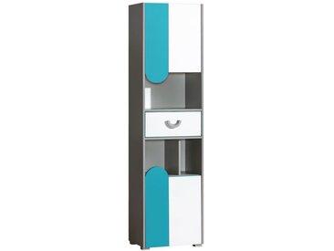 Jugendzimmer - Schrank Klemens 03, Farbe: Blau / Weiß / Grau - Abmessungen: 190 x 50 x 38 cm (H x B x T)