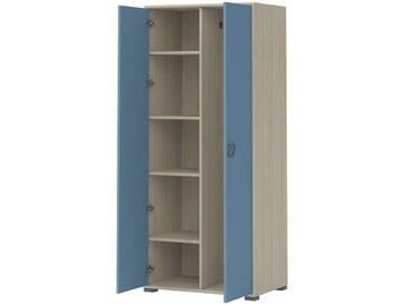 Kinderzimmer - Drehtürenschrank / Kleiderschrank Benjamin 12, Farbe: Esche / Blau - Abmessungen: 198 x 84 x 56 cm (H x B x T)