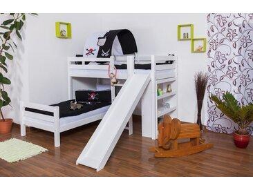 Etagenbett / Spielbett Moritz L Buche Vollholz massiv weiß lackiert  mit Regal und Rutsche, inkl. Rollrost - 90 x 200 cm, teilbar
