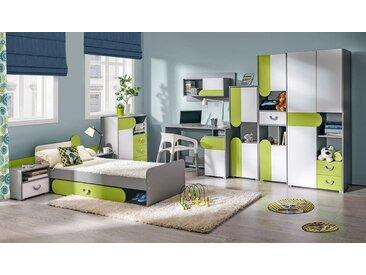 Jugendzimmer Komplett - Set B Klemens, 9-teilig, Farbe: Grün / Weiß / Grau