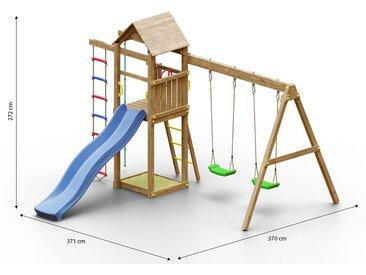 Kinderspielturm / Spielanlage inkl. Kletterseil, Wellenrutsche, Sandkasten, Strickleiter, Doppelschaukel und Holzdach FSC®