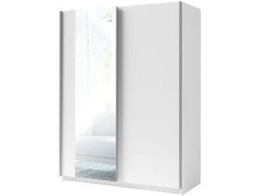 Schiebetürenschrank / Kleiderschrank Trikala 07, Farbe: Weiß - Abmessungen: 198 x 150 x 60 cm (H x B x T)