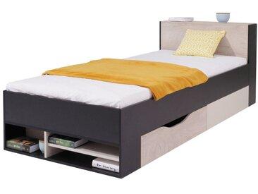 Kinderbett / Jugendbett Aalst 14, Farbe: Eiche / Creme / Schwarz - Liegefläche: 90 x 200 cm