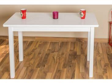 Tisch Kiefer massiv Vollholz weiß lackiert Junco 227D (eckig) - Abmessung 60 x 120 cm
